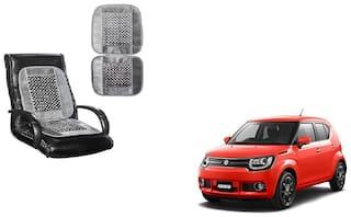 KunjZone Velvet Border Grey Seat Bead Accupressure Design Single piece For Maruti Suzuki Ignis