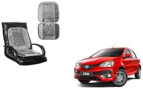 KunjZone Velvet Border Grey Seat Bead Accupressure Design Single piece For Toyota Etios Liva