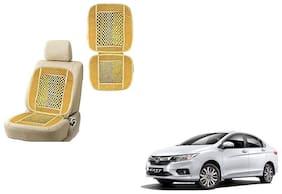 KunjZone Velvet Border Beige Seat Bead Accupressure Design Single piece For Honda City Zx
