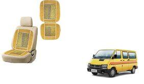 KunjZone Velvet Border Beige Seat Bead Accupressure Design Single piece For Tata Winger