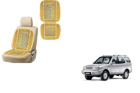 KunjZone Velvet Border Beige Seat Bead Accupressure Design Single piece For Tata Safari