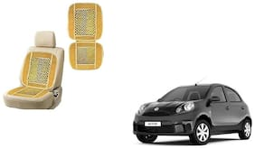 KunjZone Velvet Border Beige Seat Bead Accupressure Design Single piece For Nissan Micra Active