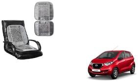 KunjZone Velvet Border Grey Seat Bead Accupressure Design Single piece For Datsun Redi GO