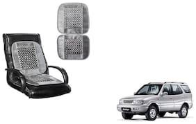 KunjZone Velvet Border Grey Seat Bead Accupressure Design Single piece For Tata Safari
