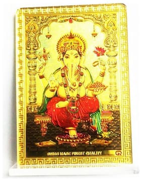 Laps of Luxury - Ganesha 10.16 cm (4 inch)x8.89 cm (3.5 inch) Golden Color Car Dashboard Idol