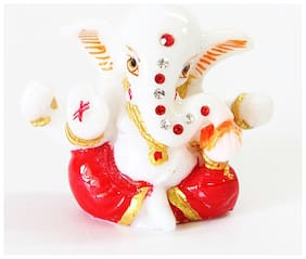 Laps of Luxury Ganesha Car Dashboard Idol in White Marbel Red color finish 10.16 cm (4 inch) x 7.62 cm (3 inch)