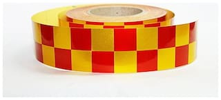 Laps of Luxury Superior Quality 5.08 cm (2 inch) Red and Yellow Cube shape Radium Tape 150 Ft.