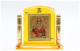 Laps of Luxury   Ganeshaji God Idol in Yellow Stand with minaret