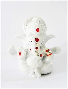 Laps of Luxury Ganesha Car Dashboard Idol in Marble Pure White color finish (4x3 inch)