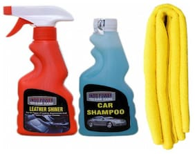 LEATHER SHINER SPRAY 250ml.+ CAR SHAMPOO 250ml.+ 1PC CAR MICROFIBER CLOTH YELLOW.