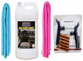 LEATHER SHINER 5ltr+ + 2PC CAR MICROFIBER CLOTH (SKY BLUE + PINK)+ Tubelass smart Panchar Kit.