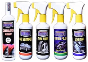 LEATHER SHINER GUN 250ml.TYRE SHINER GUN 250ml.+CAR SHAOO GUN 250ml.+SCRATCH REMOVER 100gm.+CAR WAX POLISH GUN 250ml.