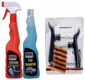 LEATHER SHINER SPRAY 250ml+ CAR SHAMPOO 250ml+ Tubelass smart Panchar Kit.