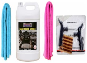 LEATHER SHINER 5ltr+ + 2PC CAR MICROFIBER CLOTH (SKY BLUE + PINK)+ Tubelass smart Panchar Kit.