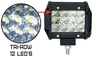 Led Bar / Fog Light / Work Light Bar Heavy Duty 12 LED 36 W 4 Inch(Approx) Spot Beam Off Road Driving LA White Colour