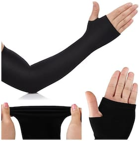 Let's slim Uv Sleeves Gloves Fashion Ice Silk Long Cycling Sleeve and Cuff Arm Protection (Pack of 1)