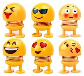 LIKE STAR COMBO of 6 Smiley Spring Doll, Cute Emoji Bobble Head Dolls Car Car Dashboard Trim Yellow ( faces may be different)