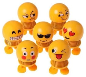 LIKE STAR Cute Fancy CLassy Smiley Emoji Emoticon Spring Bouncy Pack of-7pcs Yellow (faces may be different)