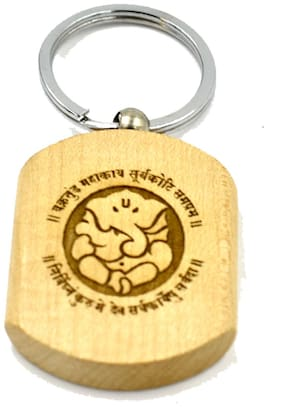 Lord Ganeshaya Engraved Handcrafted Wooden Key Chain for Gifting;Good Luck and Protection