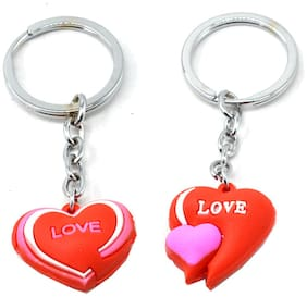Love Couple with twin Heart Key Chain Gifting for Valentine Day
