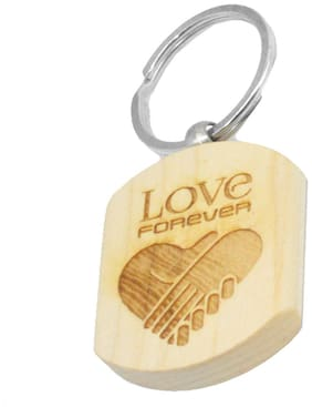 Love Message for him and her Engraved Handcrafted Wooden Key Chain