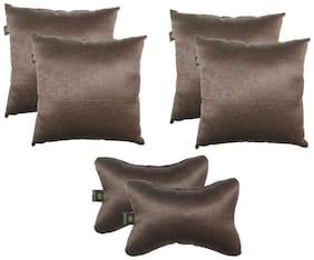 Lushomes Textured Blackout Dark Brown Car Set (4 pcs Cushions & 2 pcs Neck rest Pillow)