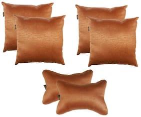 Lushomes Textured Blackout Light Brown Car Set (4 pcs Cushions & 2 pcs Neck rest Pillow)
