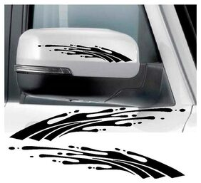 LYOMAN 2Pcs Car Rear View Mirror Stickers De cor DIY Car Body Sticker Side Decals Stripe Decals Vinyl Graphic Black