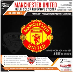 Manchester United Sticker for Hyundai Xcent - Red-Yellow 2Pcs - CarMetics