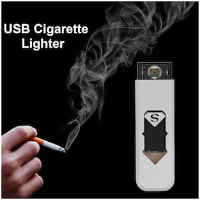 Marketwala Eco Friendly USB Cigarette Lighter with Rechargeable/Windproof & Flamless (Assorted Color) Pack of 1