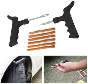 Marketwala Portable Tubeless Tyre Puncture Repair Kit with Emergency Brown Puncture Strips (Black) Set of 1