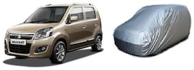 Maruti Suzuki new Wagon R(2010-2016) Car Body Cover Silver imported Febric with Buckle Belt and Carry Bag