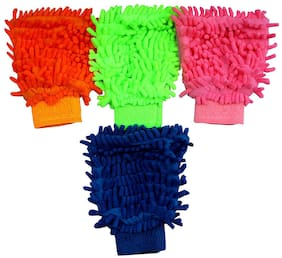 Micro Fiber Super Mitt Hand Glove Duster For Car, Office , Home, Glass Cleaning Washing Cloth (Set Of 4_Multi Color)
