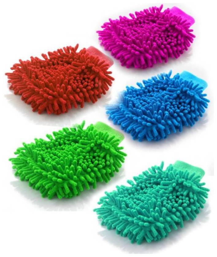 Microfiber Vehicle Washing Hand Glove   Pack Of 5  Assorted Color