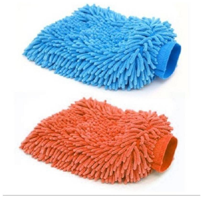 Microfiber Vehicle Washing Hand Glove  Pack Of 2  Assorted Color by Shubham Ads