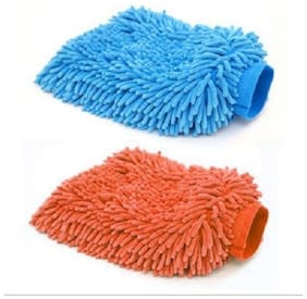 Microfiber Vehicle Washing Hand Glove  (Pack Of 2) Assorted Color