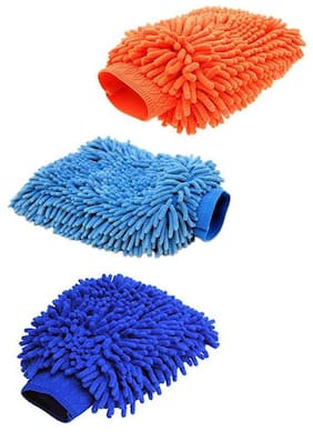 Microfiber Vehicle Washing Hand Glove  (Pack Of 3) Assorted Color