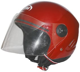 MOB2SHOP.IN Red Glossy Clear Open Face Helmet