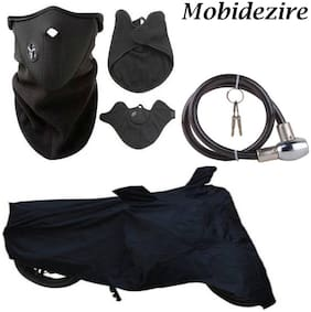 Mobidezire Automotive Combo Offer  Black Bike Body Cover With Neopren pollution mask ,& Goti Lock