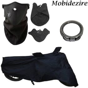 Mobidezire Automotive Combo Offer for This Diwali Season- Black Bike Body Cover With Neopren pollution mask ,& Number Lock