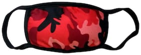 Mobidezire New Army Print Bike Face Mask For Man Color : Red Size : Free (Pack of 4)