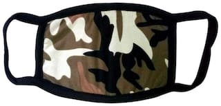 Mobidezire New Army Print Bike Face Mask For Man Color : Brown Size : Free (Pack of 2)