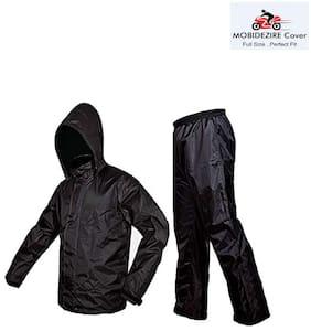 Mobidezire Solid Men & Women Black Nylon RainSuit Size-XL(Pack -1)