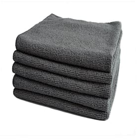 MOE CLEAN Microfiber Cloth -5pcs-40x60 cms Gray-Color-Thick Lint & Streak-Free Multipurpose Car Bike Cleaning Polishing Washing & Detailing Cloth