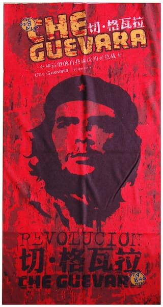 Monk 29 High Quality Che Guevara Red Multifunctional Headwrap/Headbuff/Bandana For Bikers/Hikers/Runners (Pack of 2)