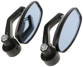 Motorcycle Bar End Mirror Rear View Mirror Oval For Bikes FOR HERO SPLENDOR ISMART