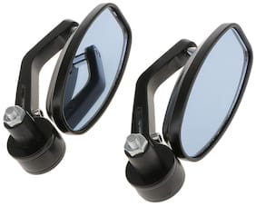 Motorcycle Bar End Mirror Rear View Mirror Oval For Bikes FOR HERO HF DELUXE