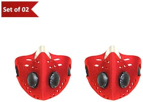 Mototrance Anti-pollution Half Face Mouth-muffle Dust Face Mask Specially for Bike Riders - Set Of 2 (Red)