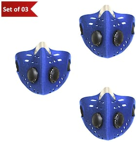 Mototrance Anti-pollution Half Face Mouth-muffle Dust Face Mask Specially for Bike Riders - Set Of 3 (Blue)