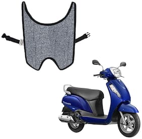 Mototrance Anti Skid Curly Scooter/Scooty Foot Mats (Grey Black) for Suzuki Access 125